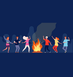 campfire dance people happy characters at night vector image