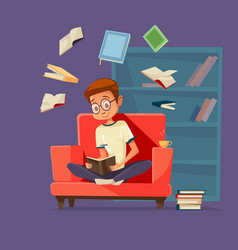 cartoon man student reading books vector image