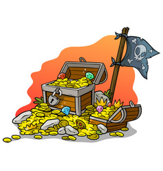 Cartoon treasure chests and pirate flag vector