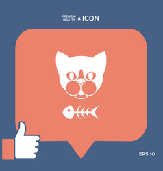 Cat with fish skeleton icon logo symbol vector