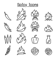 Chili spicy icon set in thin line style vector