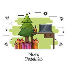 christmas in office vector image