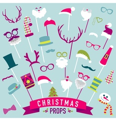 Christmas Retro Party set - Photo booth Props vector image