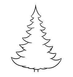 christmas tree from the contour black brush lines vector image