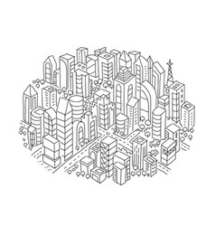 City sketch in the circle hand drawn black line vector