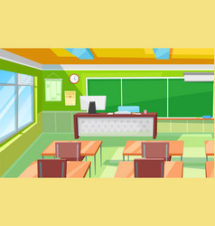 Classroom interior room with desks and blackboard vector
