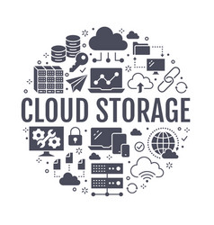 cloud data storage circle poster with flat glyph vector image