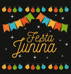 colorful poster of nightly background of festa vector image