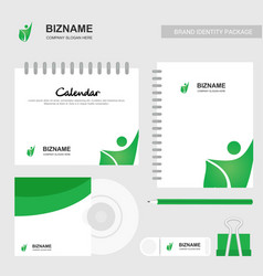 Company calender with diary and stationary items vector