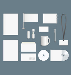corporate identity elements business stationary vector image