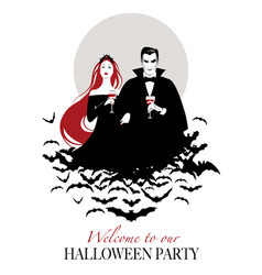 couple of vampires on a cloud of bats holding red vector image