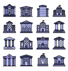 Courthouse icons set flat vector
