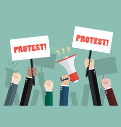 crowd people protesters vector image