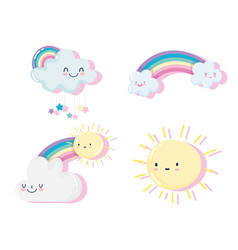 cute sun and happy clouds and rainbows cartoon vector image