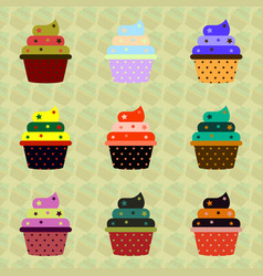 Delicious cupcakes set in vector