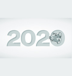 digits 2020 carved in paper and mouse in a hole vector image