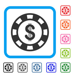 Dollar casino chip framed icon vector