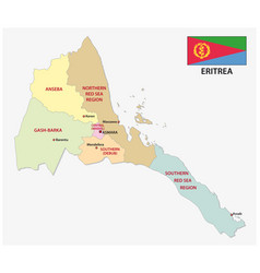 eritrea administrativ and political map with flag vector image
