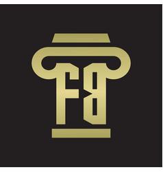 Fb logo monogram with pillar style design vector