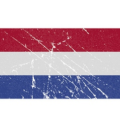 Flag of Netherlands with old texture vector image