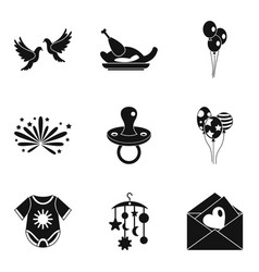 fondness icons set simple style vector image