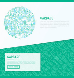 Garbage concept in circle with thin line icons vector