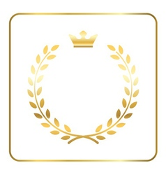 Gold laurel wheat wreath icon vector