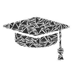 Graduation cap mosaic of triangles vector
