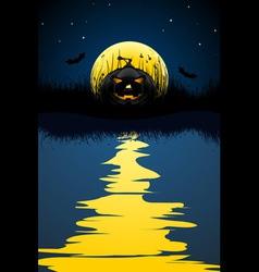 halloween pumpkin and bats vector image