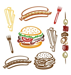Hamburger hotdog fries vector