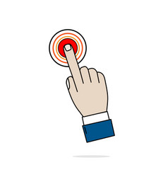 hand business icon press red button on white vector image