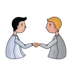 Handshaking of businessmen icon in cartoon style vector
