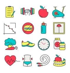Healthy lifestyle and diet of modern linear icons vector image