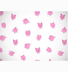 Horizontal greeting card with cute cartoon pink vector