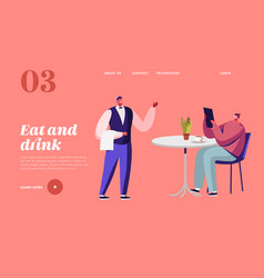 Hospitality consumerism landing page template vector