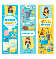 House cleaning laundry and kitchen washing vector