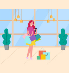 lady customer with packages shopping day vector image