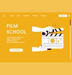 Landing page film school concept vector