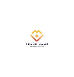 Letter logo m color gradient full color vector
