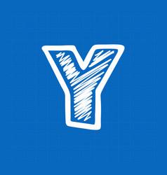 Letter y logo on blueprint paper background vector