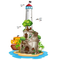 Lighthouse on island vector image