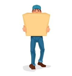 Man carries a cardboard box vector image