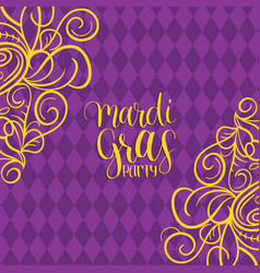 Mardi gras hand lettering greeting card vector