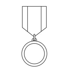 medal icon with ribbon awards vector image