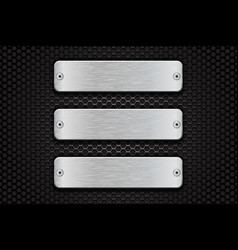 metal brushed plate on perforated dark steel vector image
