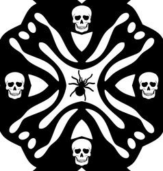 Monochromatic background with skulls ans spider vector image