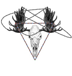 Moose skull and beads vector