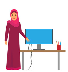 Muslim woman at work arab business vector