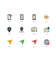 Navigator and GPS color icons on white background vector image