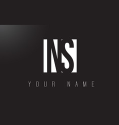 Ns letter logo with black and white negative vector